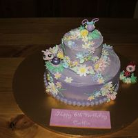 Littlest Pet Shop Flower Garden Buttercake covered in buttercream icing and handmade fondant flowers and leaves.