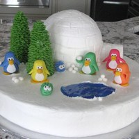 Club Penguin Cake   Iced in buttercream with fondant figures