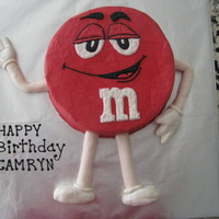 M&m Guy   Another fun one! The arms and legs are fondand/gumpaste mix. The rest is buttercream.