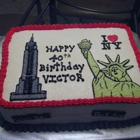 New York My friend was surprising her hubby with a trip to NY for his 4oth birthday and wanted the cake to represent the surprise gift