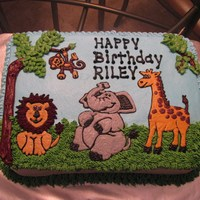 Zoo/jungle Animals Cake   I did this using my cake projector. It's all buttercream.