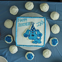 Blue's Clues Birthday Cake Cake I made for my son's 2nd birthday. Family recipe chocolate cake, buttercream and FBCT. First time doing a FBCT - still need to...