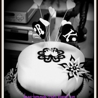 "Black And White Engagement Cake This was my 1st 2-tier fondant cake. 10''+8"" choc marble pound cake. Thanks for viewing."