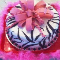 Zebra Pattern And Bow It didn't turn out as well as I was hoping but my 8 years old daughter and her friends loved it