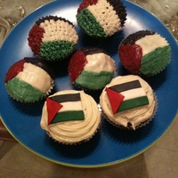 Palestine Flag Cupcakes Some flags are made of fondant and others are made from buttercream.