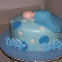Baby Shower Cake   Blue Baby shower cake with baby on top