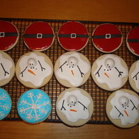 Christmas Cookies   Santa bellies, Texas snowmen and snowflakes.These were fun to make, NFSC with Toba's Glace and Antonia74's royal icing.