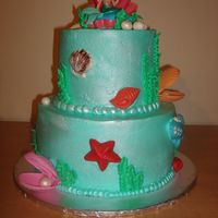 Little Mermaid Cake  Little Mermaid cake inspired by a cake here on CC.Buttercream sprayed with pearl spray, with gumpaste and candy melt accents.Chocolate WASC...