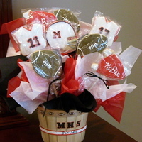 Football Cookie Bouquet Sugar Cookies with royal icing