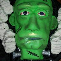 Frankenstein   I made this cake using Brownen Weber's directions for my Halloween party