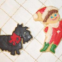 Scottie And Jack Frost (Colored As An Elf)  The elf (Jack Frost) cookie just made me laugh -- I used red glace' for the smile and then decided I wanted white non-pariels on the...
