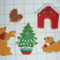 Goldie's Christmas Cookies  Cookies inspired by my 14 year old Golden Retriever, Goldie! I found out how easy it is to color granulated sugar with Americolor Gels when...