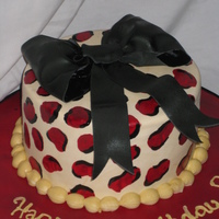 Leopard Print! Leopard print birthday cake with bow. The cake is chocolate wasc with butter cream filling and dark chocolate ganache under the MMF. The...
