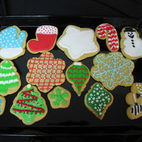 Christmas/holiday Cookies Sugar cookies covered with colorful royal icing and/or buttercream frosting.