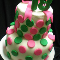 "Pink And Green Polka Dots 18Th Birthday Cake This cake was made for a friend's birthday. A two-tier 4"" and 6"" funfetti cake with white chocolate frosting, covered with..."