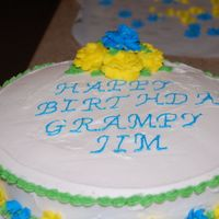 Grampy   I made this cake for my father in law's birthday...this was my first cake outside of classes.
