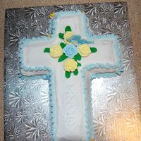 Cross Cake  I made this for a first communion/confirmation. It's a devil's food cake. Buttercream icing and royal icing roses, rosebuds and...