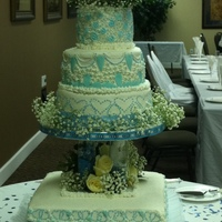My First 4 Tier Wedding Cake This is my very first wedding cake...and it has to be 4 tiers.the bottom cake is chocolate fudge with strawberry filling,2nd is almond,...