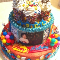 Joel 3Rd B-Day Cakes are sponge cake with sweet coconut string fillings and covered with coconut icing. decorations are fondant and top it with waffle ice...