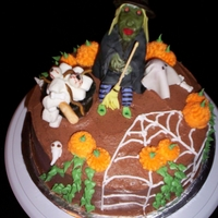 Halloween Witch   buttercream with fondant witch and accents. made this for my granddaughter's 13th b'day