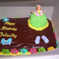 Luau Hula Girl   all buttercream, few fondant accents. made for neighbor's granddaughter's 12th b'day