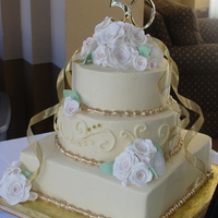 Mom And Dad's 50Th Anniversary Cake white cake with white chocolate icing, gumpaste and royal decorations