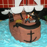 Pirate Ship Cake was made for my nephew's birthday.I had inspired by cakelady45's perfect pirate cake but I just could this cake