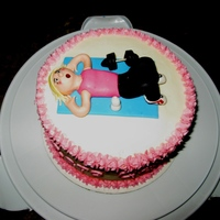 "Workout Girl Made for my workout buddy's birthday. The side of the cake had the message, ""Zero Calorie Cake"". Chocolate cake with..."