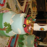 Wonderpets Gumpaste figures and boat with much of the details piped on the cake with royal icing.