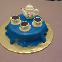 Tea Party This tea set was created using candy mold. The round layer was ice with butter cream and covered with a fondant table cloth. As a lesson...