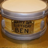 "Drum Cake Made for my friend's son, a replica of his personal light wood drum. 3 - 10"" round yellow cakes filled with vanilla buttercream,..."