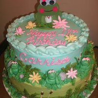 Frog Cake Birthday cake for a girl who loves frogs. Buttercream with fondant accents. Inspiration came from a cake here on CC. Made matching frog...