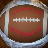 Football I made this cake for the end of season party for my son's football team. It is the first time I've done a fondant cake and...