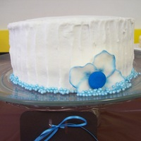 "Blue And White Bridal Shower This is the cake that was the center piece for my sister's bridal shower dessert table. It is an 8"" white cake with strawberry..."