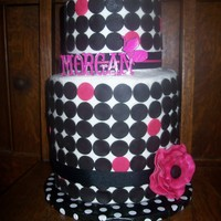"Sweet 16 6"" round stacked on 2-8"" rounds. White cake and chocolate fudge cake with chocolate ganache filling. BC with fondant polka dots..."