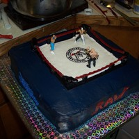 Wwe World Wrestling Entertainment Cake I did this cake for a friends 5year old son who was into wrestling, I did a medium square sized 3 layered cake, Its all butercream frosting...