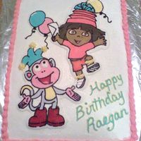 Dora The Explorer And Boots Flat Sheet cake, FBCT, all buttercream frosting.I forgot to add backpack to her shoulders.....Dang!!