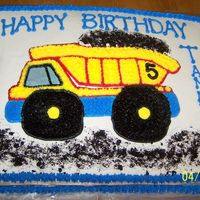 Dump Truck Sheet Cake Buttercream Frosting with Crushed Oreos for Dirt