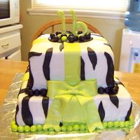 Sweet Sixteen White cake, with Marshmallow Fondant in White, with Black Zebra Stripes in Fondant also. 16 and bow in Marshamllow Fondant. Beads arounds...