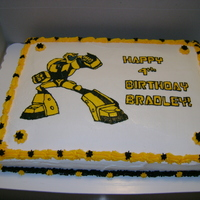 Bumblebee Cake White cake with buttercream icing. Bumblebee is FBCT. Thanks for looking!