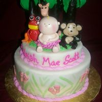 Rainforest Cake the annimals are form the fisher price rainforest collection, the cake is based on a pic that the client forwarded to me in an e-mail.