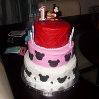 Twins Birthday  This was a cake I made for a friend's twins First Birthday Party. The theme was Minnie & Mickey Mouse. This is my second cake. Is...