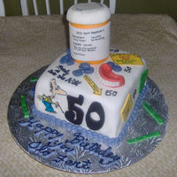 50Th Cake 50th birthday cake I just finished for a family member. Triple layer vanilla cake with buttercream filling covered with fondant, pill...