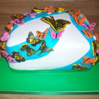 Butterflies Swirling In The Sky For A Grandfather's Memorial The client for this cake is a dear friend whos father in law has passed on and the grandchildren say that every time they see a swarm of...