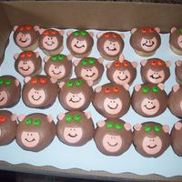 Monkey Cupcakes Monkey cupcakes, one dozen wasc, one dozen chocolate mud, iced in bc with fondant and Skittles accents. TFL! (Client gave me a picture to...