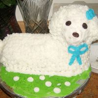Easter Lamb Cake This was my first attempt at a 3-D cake figure. I used Wilton Cake Lamb Pan. Also home made butter cream done rossett style fur with raisin...