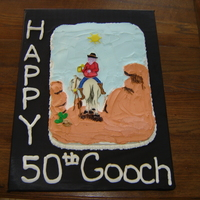 Drunk Cowboy   1/2 sheet cake bc icing fondant accents/decor. The face is cut out the rest is done by hand.....was lotsa fun! TFL