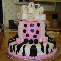 Pink Polka Dots   White cake with bc icing and fondant accents...This was my first bow and first zebra stripes. Great fun! TFL!