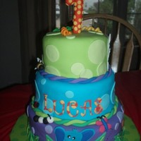 "Safari Friends 1St Birthday Cake I made this ""Safari Friends"" birthday cake to match the partyware for the party. The turtle cake was a small ""smash""..."