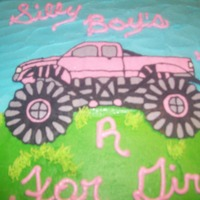 Silly Boys Trucks R For Girl's Chocolate cake with buttercream frosting and transfer. Girl loves trucks!